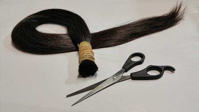 ustřižené vlasy v culíku