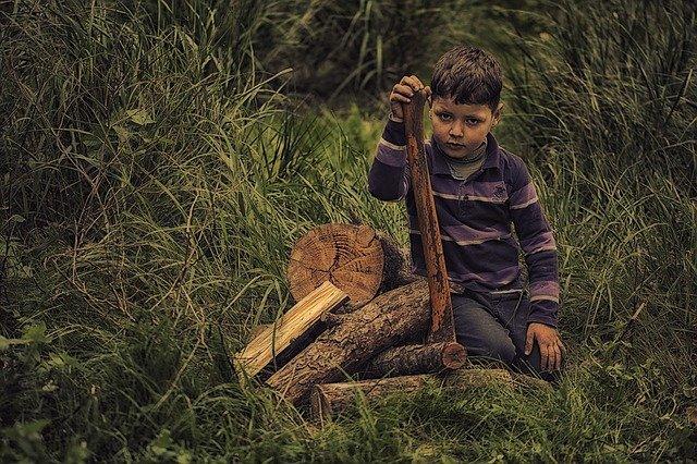 chudý chlapec se dřevem