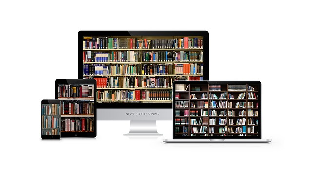 knihovna na monitoru